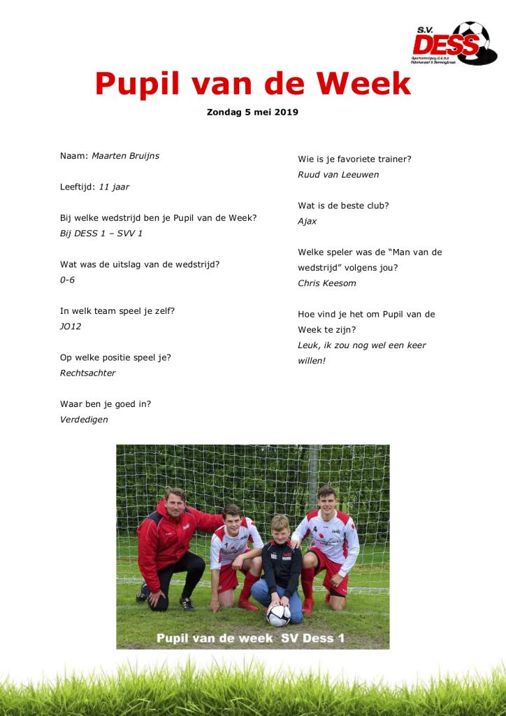 Pupil van de Week wk 18 2019 - Maarten Bruijns